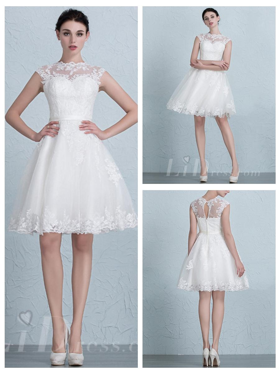 Cap Sleeves Illusion Neckline Lace Short Wedding Dress #2553030 ...