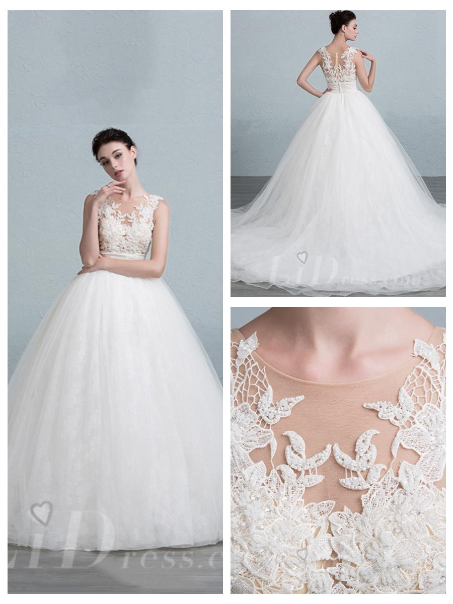 Illusion Neckline Ball Gown Wedding Dress With Illusion Back ...