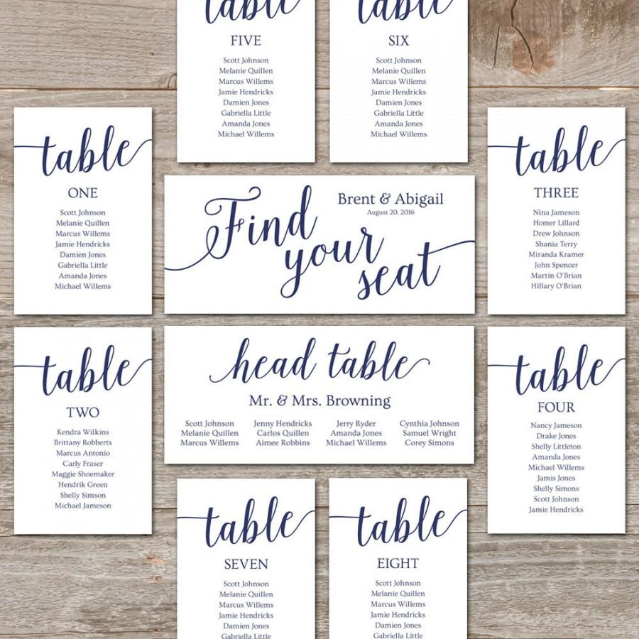 Wedding Seating Chart Template Diy Cards Editable Printable Navy Decor