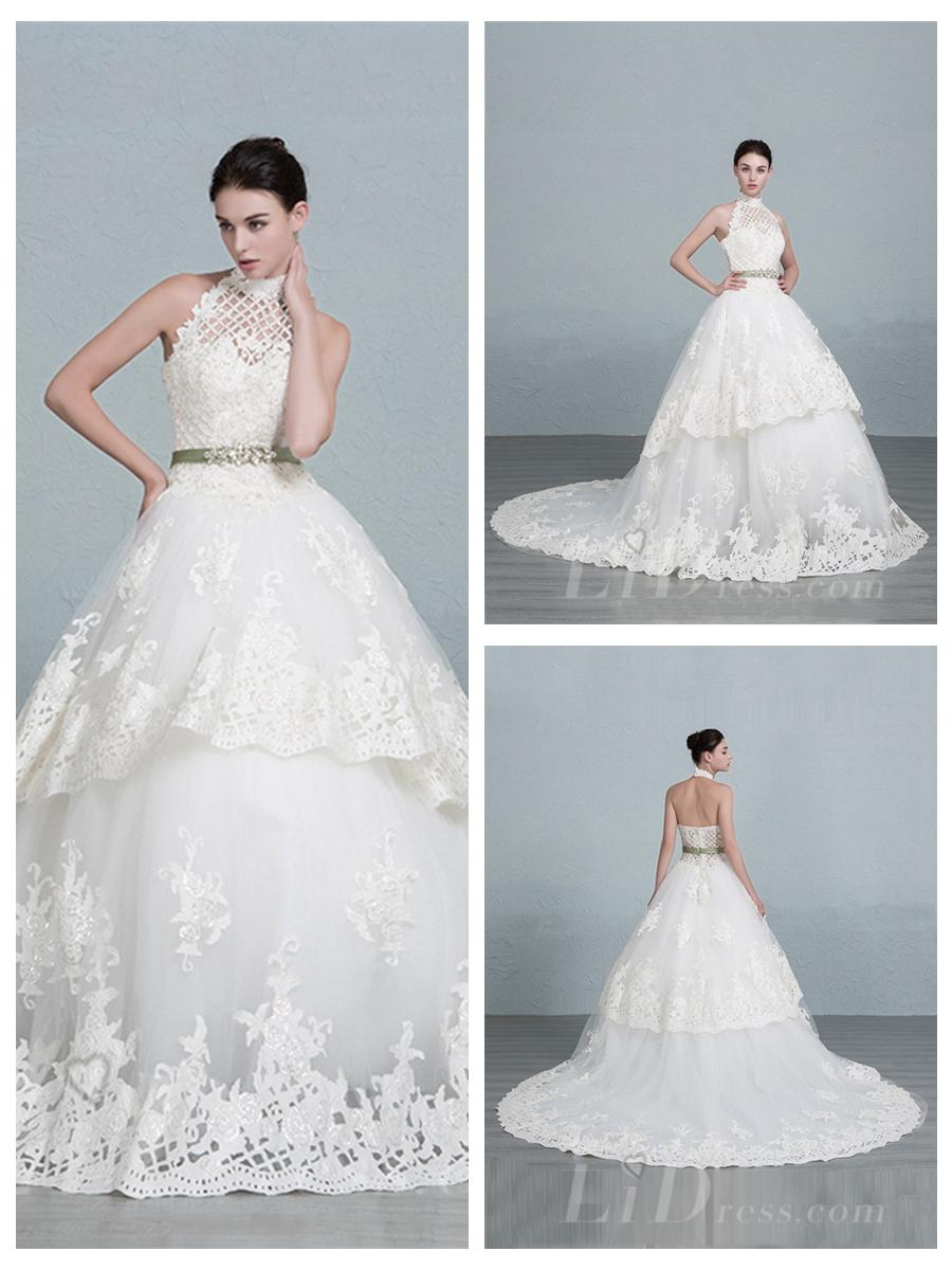 Halter Neckline Lace Ball Gown Wedding Dress #2553038 - Weddbook