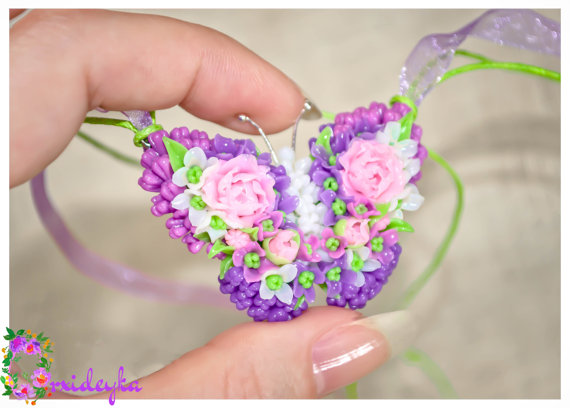 Mariage - Pendant butterfly Polymer clay Handmade jewelry woman romantic Beautiful Summer Flower earrings gift Pink peony purple lilac set gentle