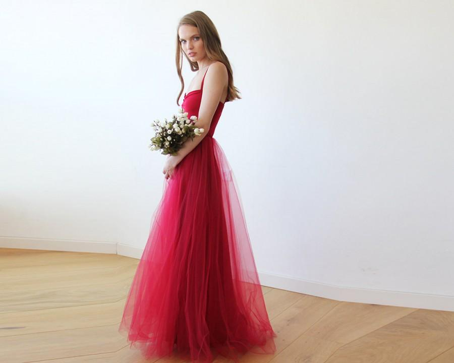 Bordeaux Maxi Tulle Ballerina Gown, Sweetheart Maxi Tulle Dress ...