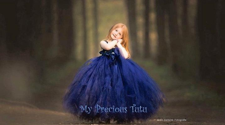 Navy Flower Girl Dress - Tulle Flower Girl Dress - Wedding Dress ...