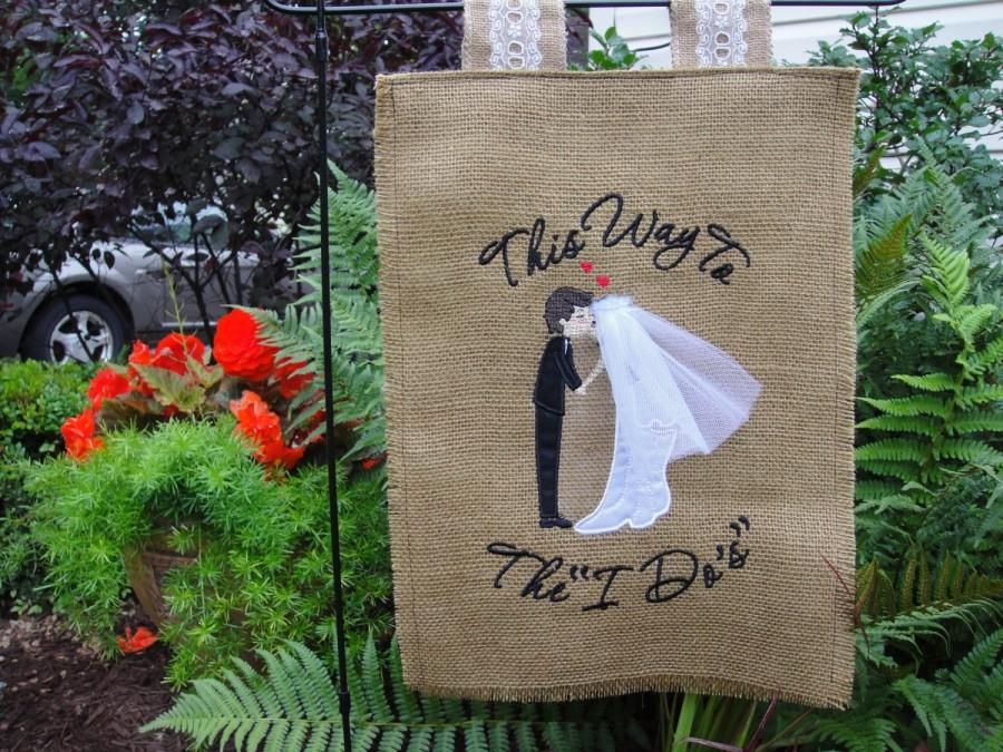 Perfect Burlap Wedding Garden Flag, Personalized