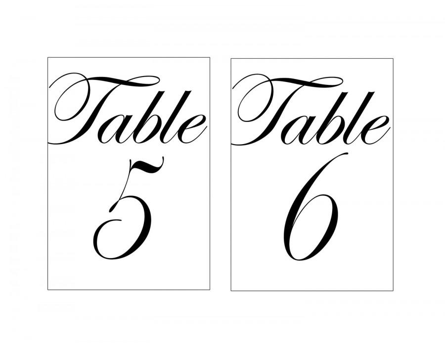 photograph about Printable Table Number identify 4x6\