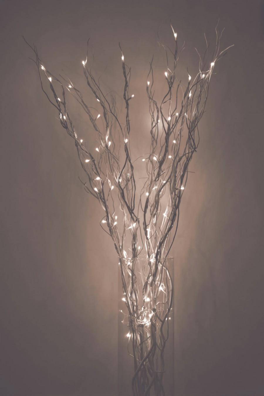 زفاف - LED Lighted Curly Willow Branches, Silver, Gold, Pearl, Natural or Custom color