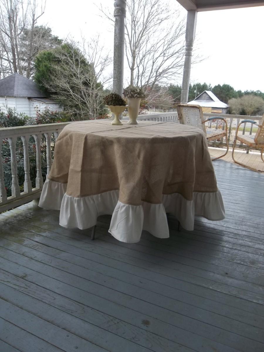 90 Ruffled Burlap Tablecloth French Country Handmade Ruffed Round Floor Length Wedding Decor Table Settings