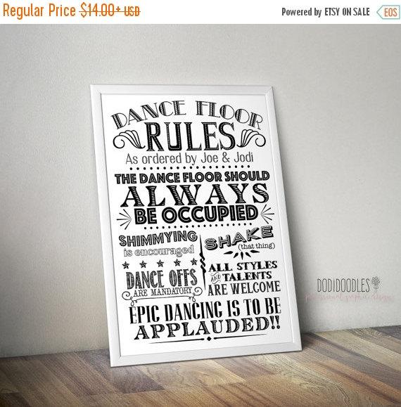 70% CLEARANCE THRU 7/30 Dance Floor Rules, Custom Printable ...
