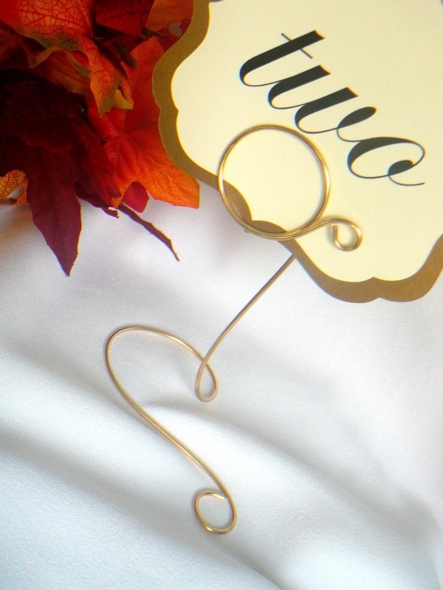 زفاف - Wedding Decor, Gold Table Number Holder, Solid Brass Color, 4 Inches Tall
