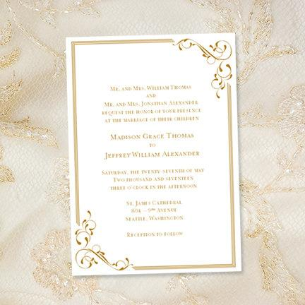 printable wedding invitation template elegance gold also suitable