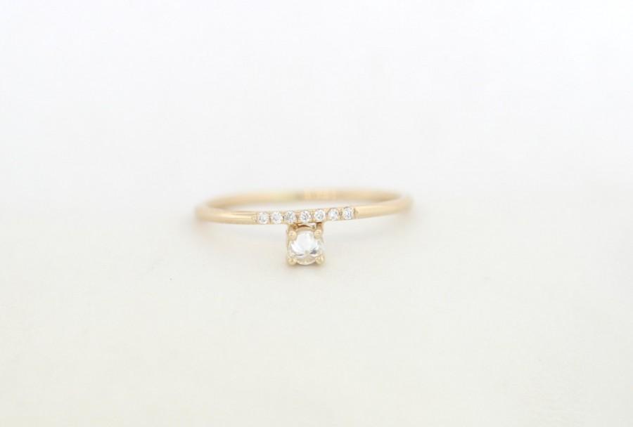 Wedding - Inverted Diamond Engagement Ring Set With Micro Pave White Diamonds