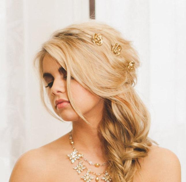 زفاف - Gold Rose Hair Pins, Gold Floral Bobby Pins, Gold Flower Clips, Bridal Hair Pin, Gold Wedding Accessory, Rose Hairpin (Set of Three) ROSABEL