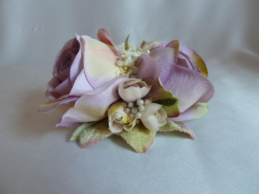 5506b89089 Large lilac double rose hair flower with velvet flowers and leaves, bridal hair  clip, vintage style, 1940s, 1950s