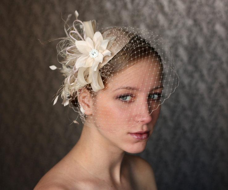 Ivory BIRD CAGE VEIL Vintage Style Wedding Headdress Birdcage Veil Hatbridal Hat Fascinator Hair Flower Crystals Feathers