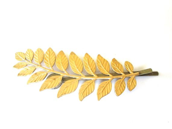 Hochzeit - Gold Leaf Hair Piece Bridal Accessories Leaves Hairpin Bobby Pins Clips Wedding Woodland Bobbies Hair Jewel