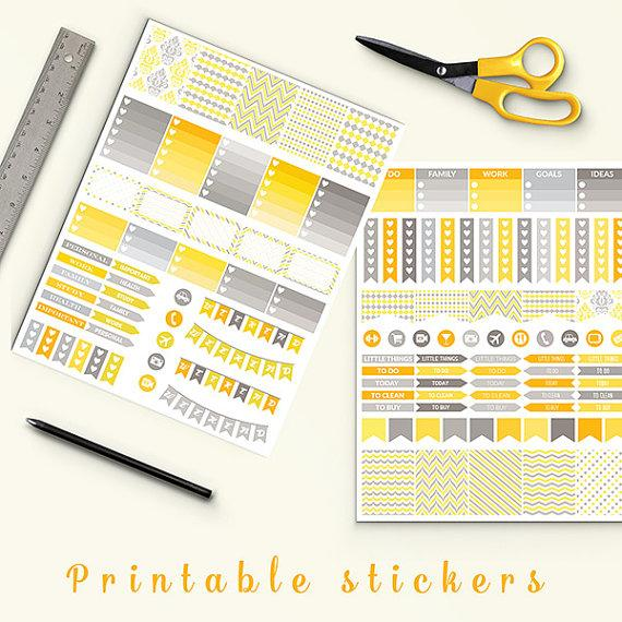 50 off grey and yellow planner stickers printable planner stickers erin condren life planner eclp instant download