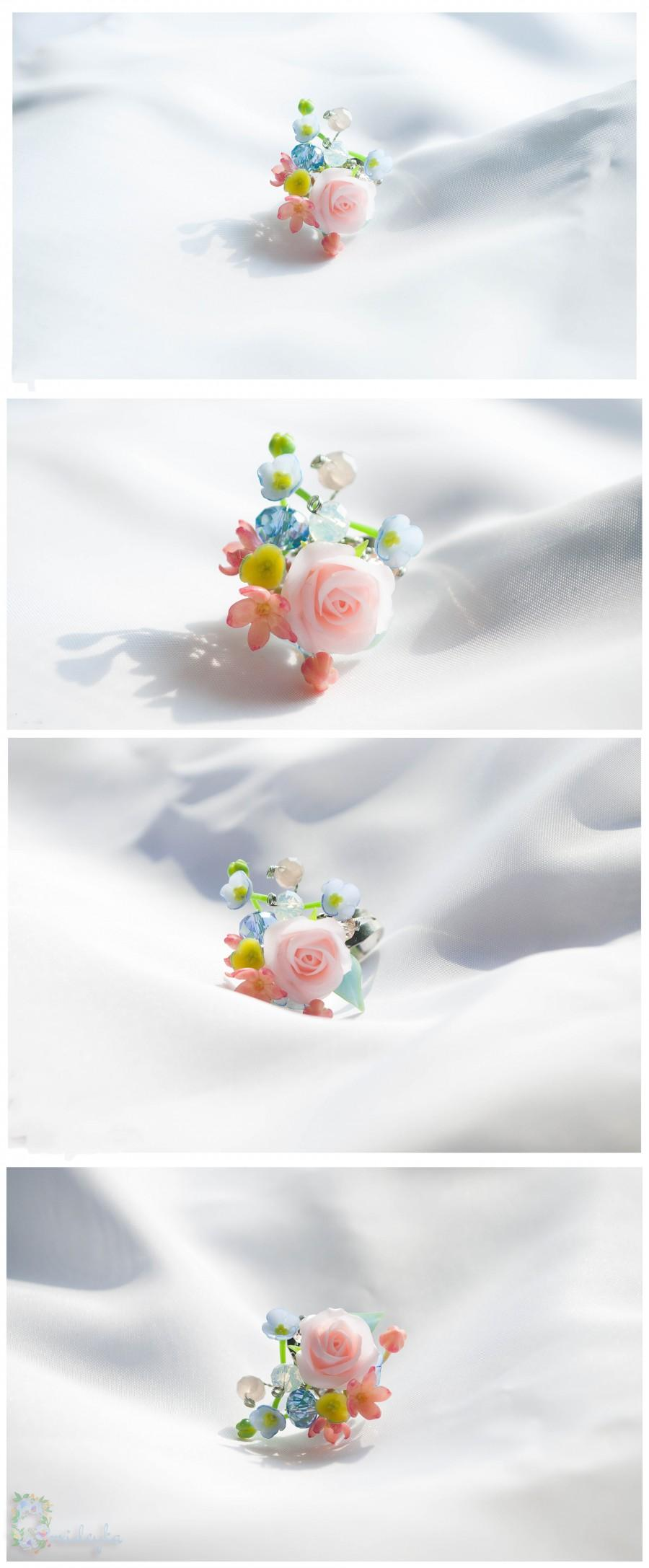 Wedding - Rose ring, rose flower ring, delicate ring, light pink rose ring, blue forget me not, pink blue yellow flowers, polymer clay ring, handmade