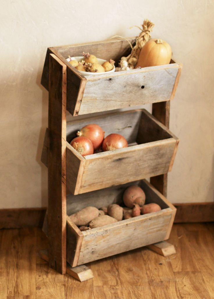 Potato bin vegetable bin scandinavian barn wood for Design couchtisch diy
