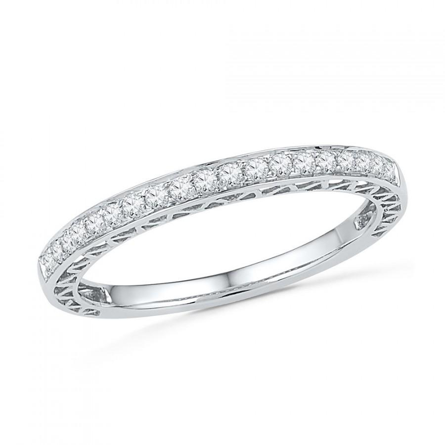 Womens Diamond Wedding Band / White Gold Or Sterling