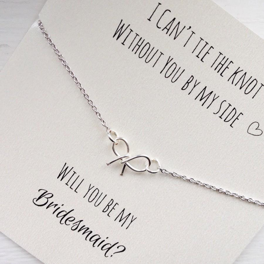 FREE SHIPPING, Will You Be My Bridesmaid, Tie The Knot Necklace, Bow ...