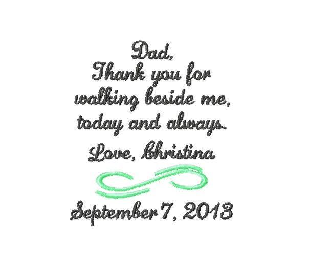 Hochzeit - FATHER Of The BRIDE Handkerchief Hanky Hankie - Thank You For Walking Beside Me Today and Always - FoB - Dad