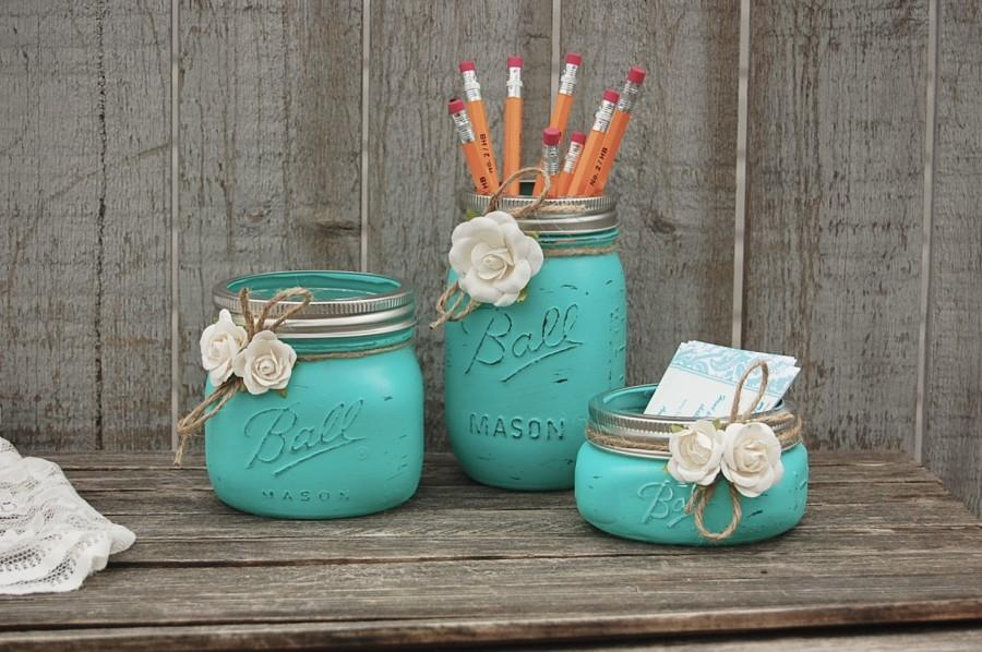 Desk Set Mason Jar Aqua Shabby Chic Pencil Holder Dorm Office Decor Rustic Teacher Gift Beach Hand Painted