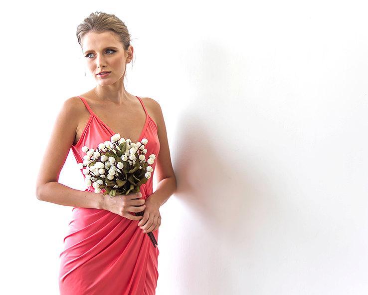 Wedding - Wrap maxi coral bridesmaids sexy gown, Maxi strap coral dress