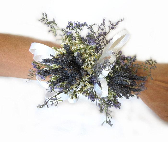 Hochzeit - Organically French Blue Dried Lavender Wrist Wedding Corsage