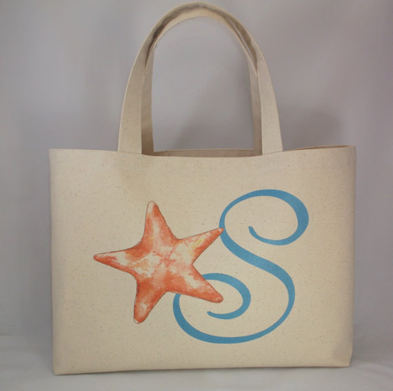 Beach Wedding Gift Bag Ideas: Nautical Personalized Beach Bag Tote, Bridesmaid Gift Bag