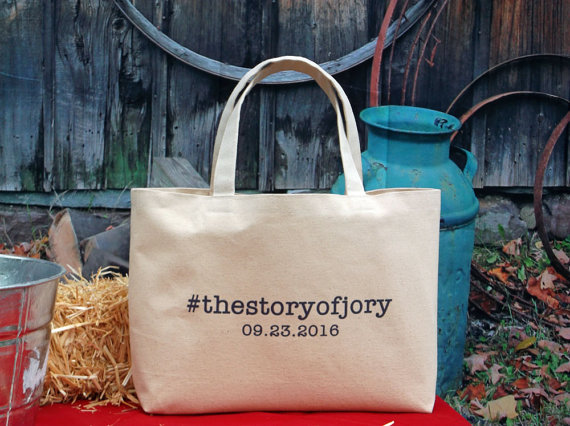 Wedding Welcome Hashtag Beach Bag Tote Large Bridesmaid Personalized Canvas