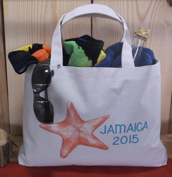 NAUTICAL Destination WEDDING Starfish Set Of 10 Canvas Beach Bag Tote Bridesmaid Wedding Welcome Cruise