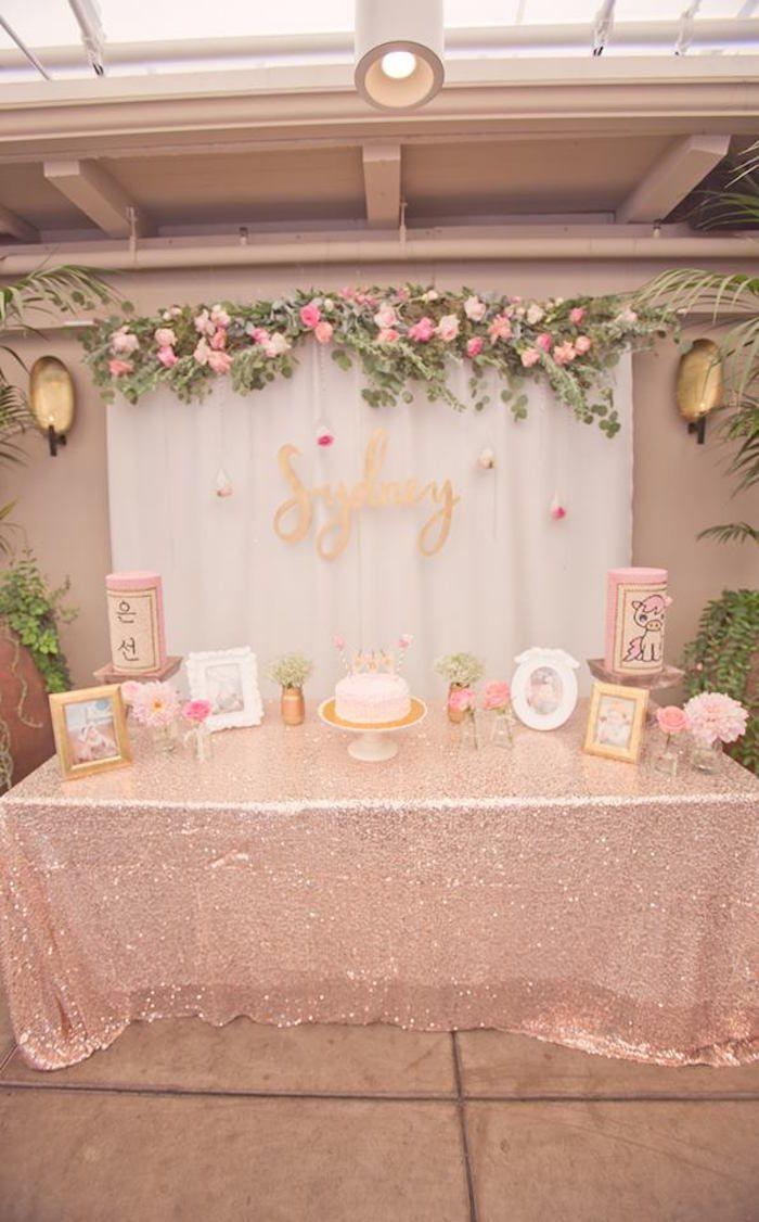 pink gold bohemian dohl birthday party