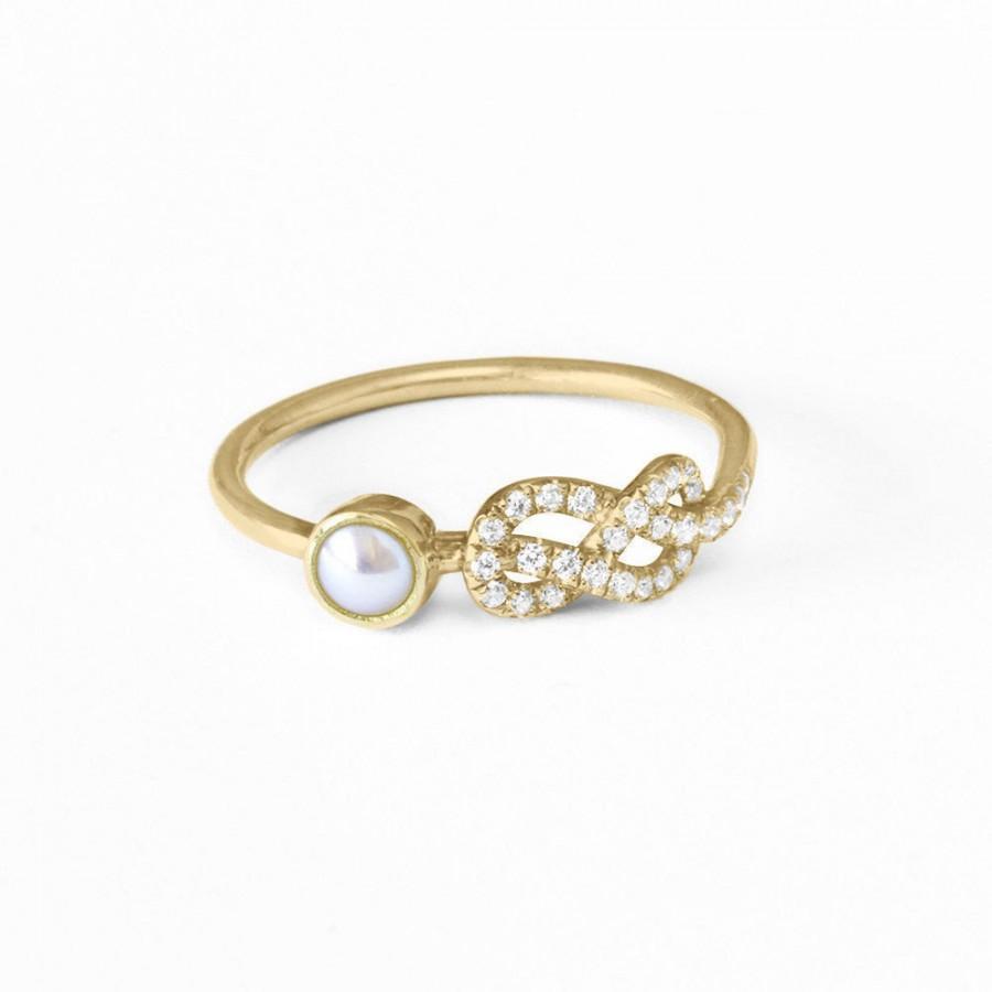 pearl engagement ring original infinity knot ring 14k