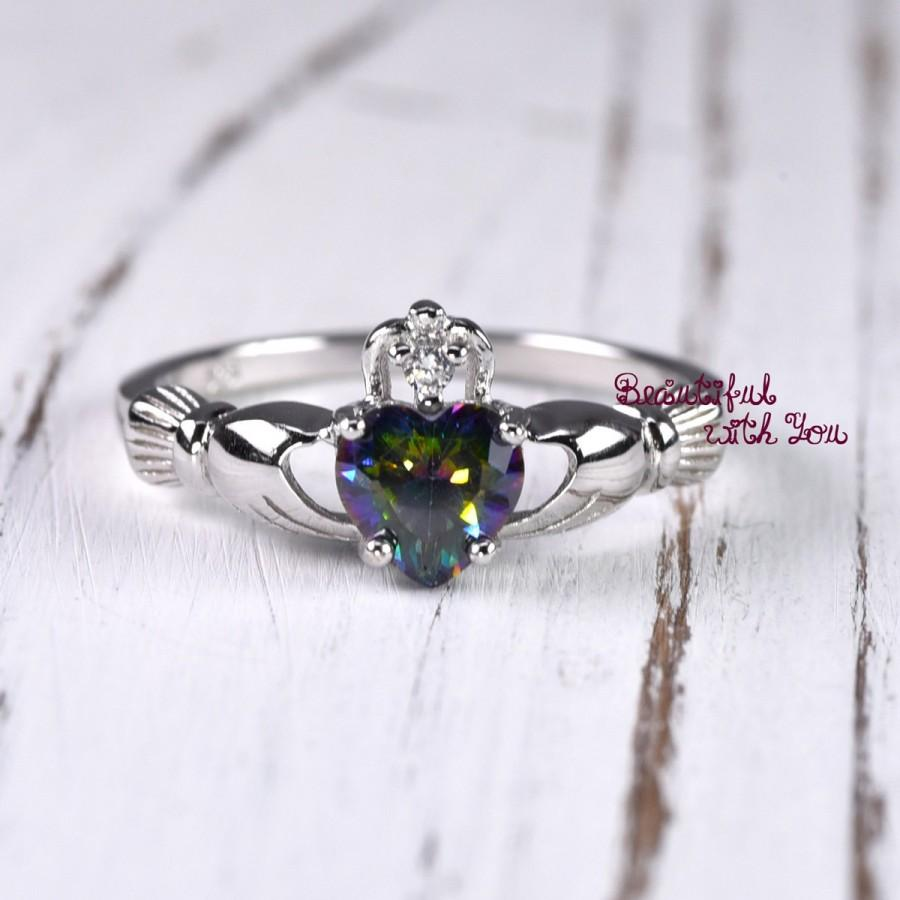 925 Sterling Silver Claddagh Ring Womens Wedding Band Promise Ring ...