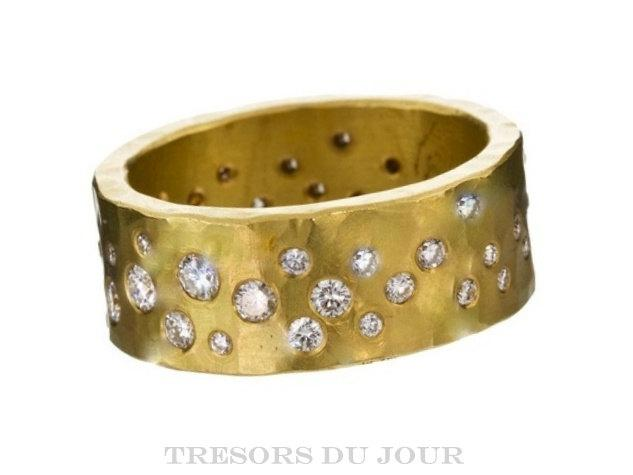 زفاف - Unique Diamond Wedding Band, HAMMERED wedding BAND Diamonds, Starry Night Wedding Ring Unique Eternity Band Unique Diamond Anniversary Ring