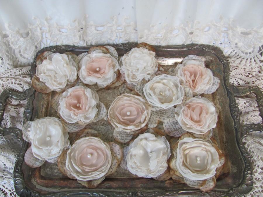Свадьба - Wedding Flower Decorations DIY Wedding Alternative Fabric Flowers Set of 12