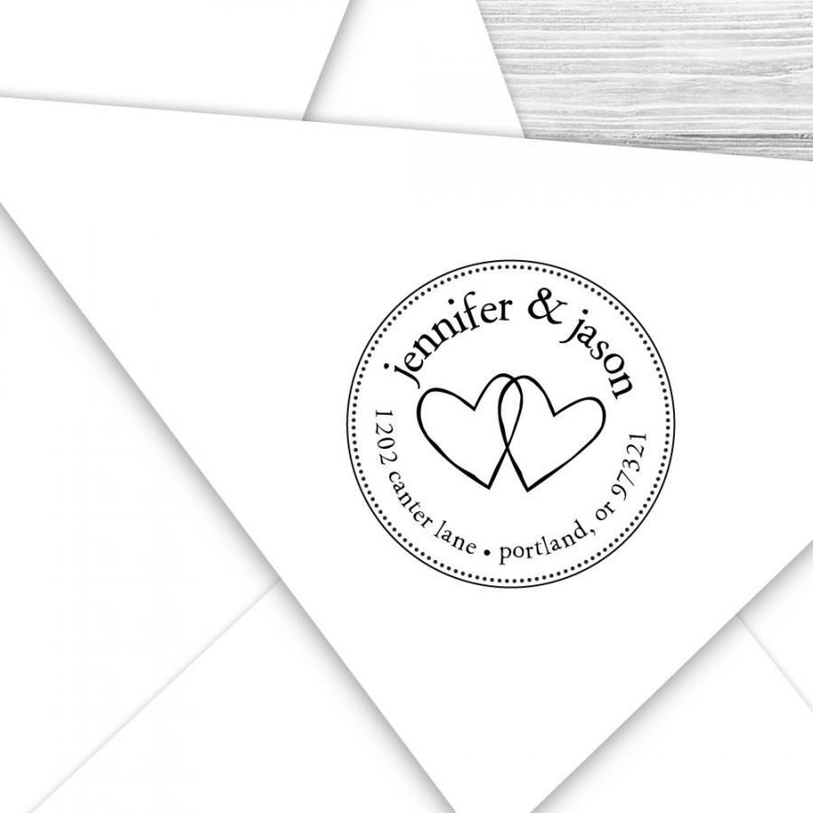 Wedding - Custom Wedding hearts return address stamp--127TS