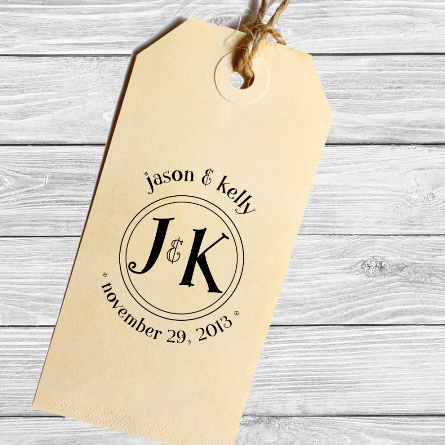 Wedding - Save the date custom wedding stamp with your initials or monogram--132TS