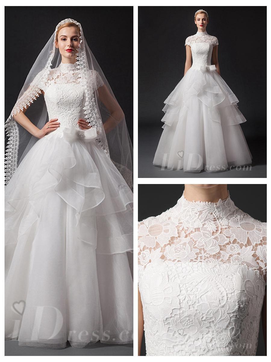 Short Sleeves High Neckline Natural Waist Floor Length Ball Gown ...