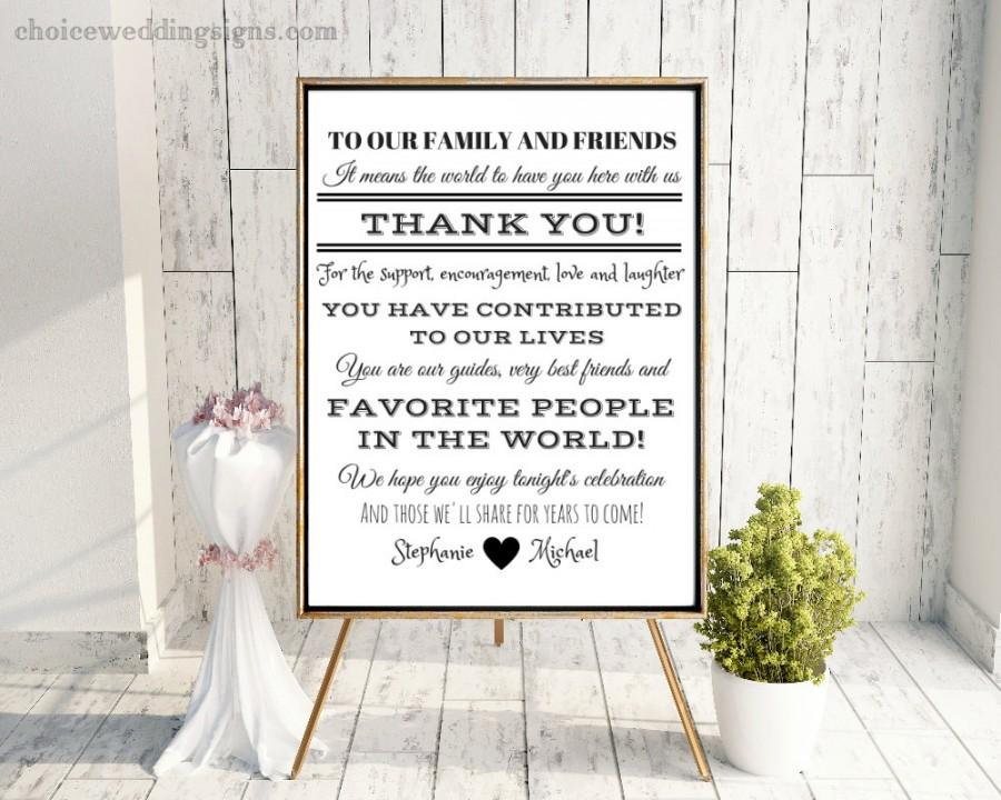 Wedding - Wedding Thank You Sign Printable - Personalized