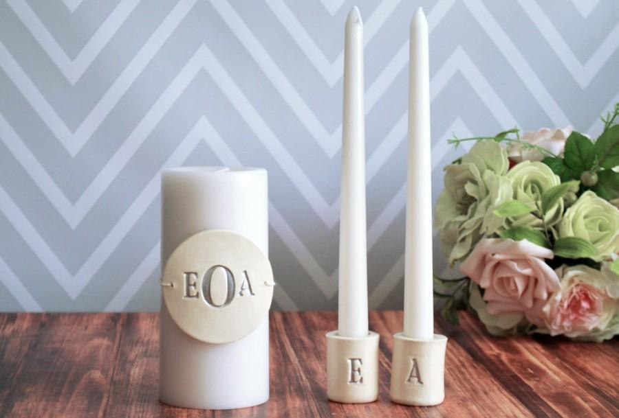 Свадьба - PERSONALIZED Unity Candle Ceremony Set with Ceramic Candle Holders - Gift Boxed