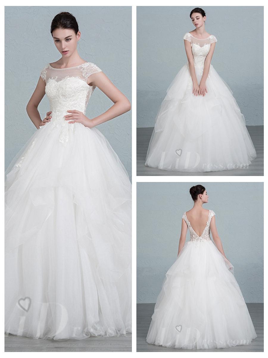 Short Sleeves Scoop Neckline Ball Gown Wedding Dress #2553679 - Weddbook
