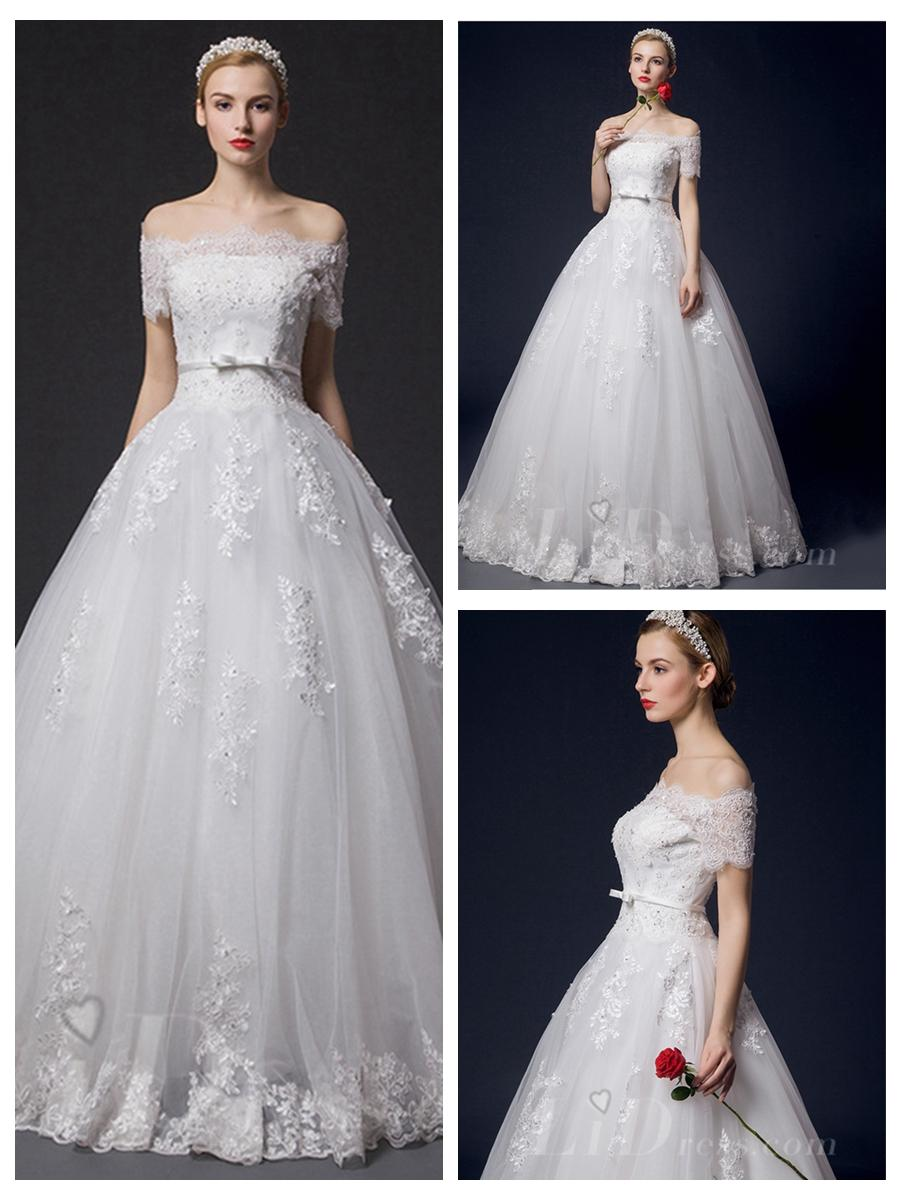 Wedding - Off-the-shoulder Lace Appliques Bridal Ball Gown