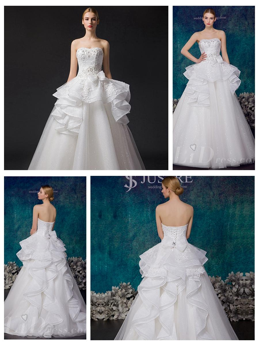Mariage - Strapless Beaded Bodice A-line Wedding Dress