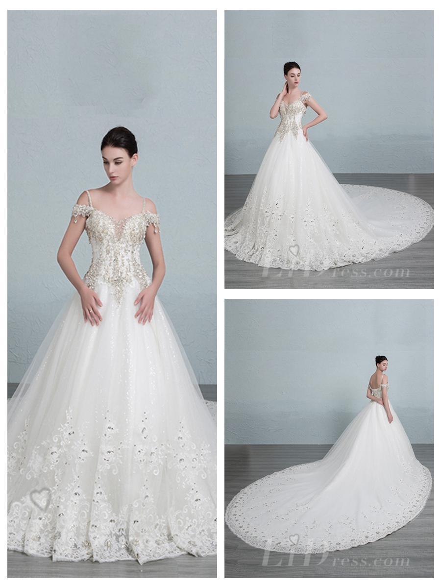 Свадьба - Straps Beaded Bodice A-line Wedding Dress