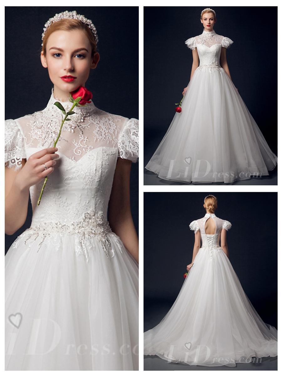 Свадьба - Cap Sleeves High Neck A-line Wedding Dress with Keyhole Back