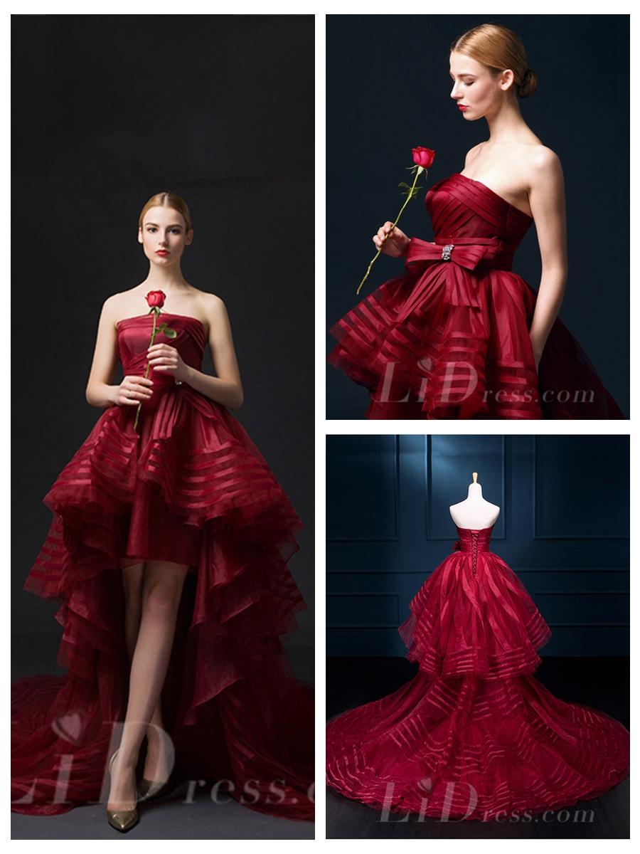Wedding - Strapless High Low Burgundy Wedding Dress