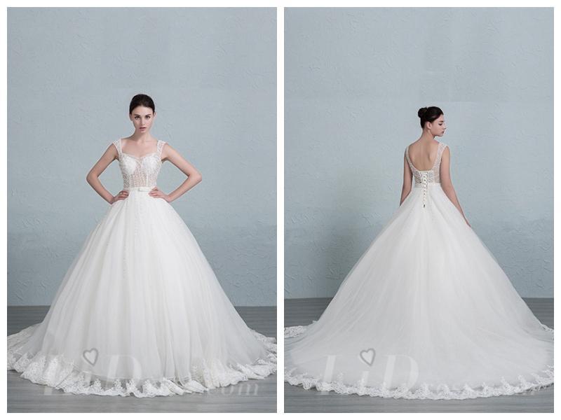 Mariage - Straps Square Neckline Ball Gown Wedding Dress