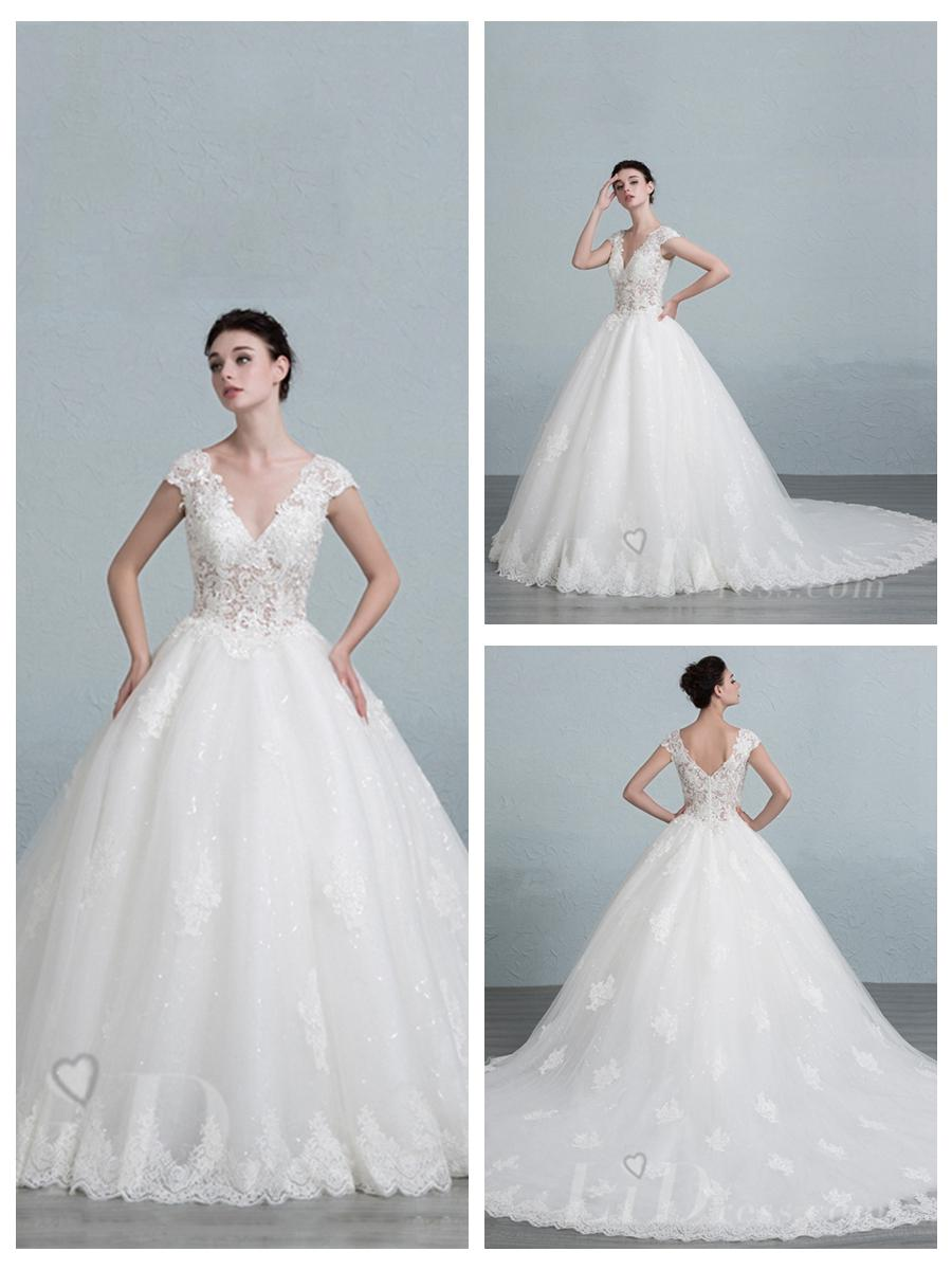 Mariage - Cap Sleeves V-neck Lace Appliques Ball Gown Wedding Dress