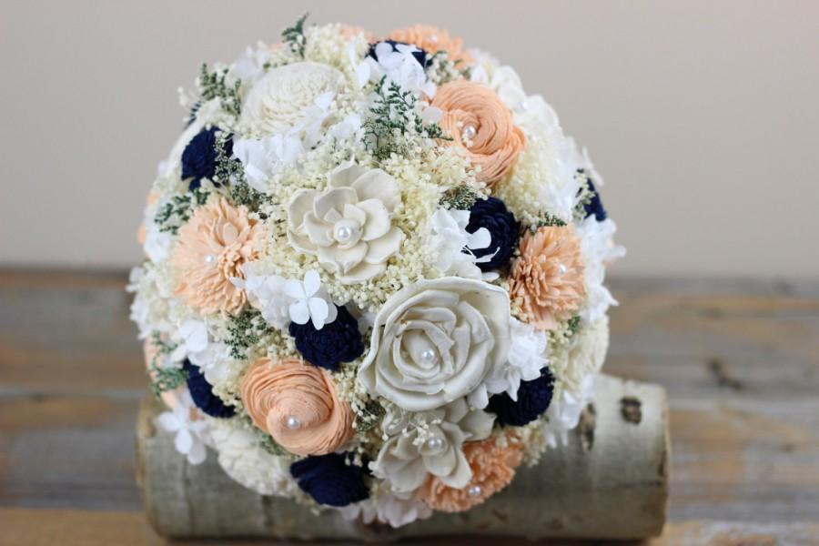 Свадьба - Peach, Navy, Bridal Bouquet, Sola Flower Bouquet Alternative Bridal Bouquet,Keepsake Bridal Bouquet,Romantic Bridal Bouquet,Woodland Bouquet